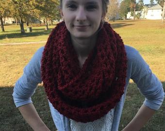 Chunky Handmade Infinity Scarf / Red Infinity Scarf / Crochet Infinity Scarf / Circle Scarf / Chunky Scarves / Infinity Scarf / Scarves