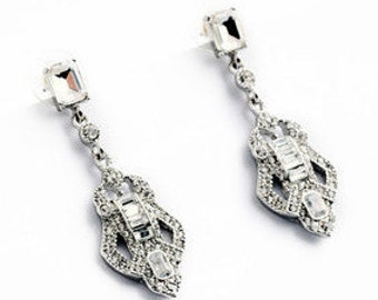 Art Deco Crystal Drop Earrings - Wedding/Bridal/Bridesmaid/Prom EA6015i