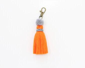 Orange Tassel Keychain With Beads & Pom poms - 7