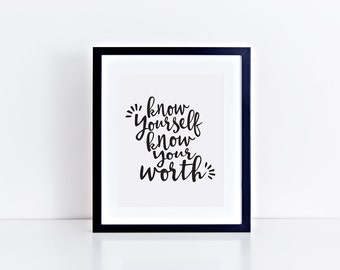 DRAKE LYRICS - Know yourself, Know your worth PRINTABLE art - digital file
