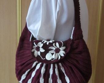 Crocheted bag, Flower bag, Women's Handbag, Cotton Bag, Handmade Handbag, Cotton Handbag, Crochet Bag