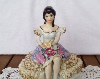 Lovely Vintage Collectible Porcelain Girl Figurine in Porcelain Lace Dress, Collectible Figurines, Vintage Lady Figurine, Collectibles