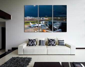 Aircraft  Wall Art Multi Panels Set Plane Wall Art  Airport Wall Art Airport Print Poster Aircraft Wall Canvas MultiPanel