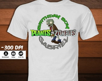Personalized Plants vs Zombies Iron on Transfer T-Shirt-Printable Plants vs Zombies Shirt-Birthday shirt party decoration-DIGITAL DOWNLOAD