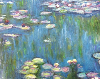 """Monet Water Lilies 1916 Replica By JPK Artwork 100% Hand Painted Reproduction Artist Direct 11"""" x 14"""""""