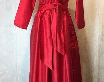 90. CATHERINE REGEHR- Red Silk Gown