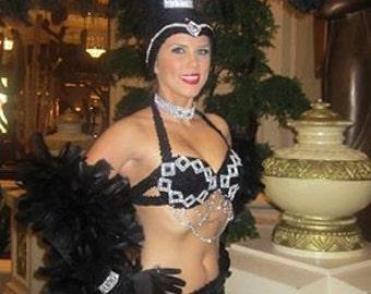"Showgirl ""Deco"" Bra Black Sequin Rhinestone designed and created by Gillian of Show Off Las Vegas"