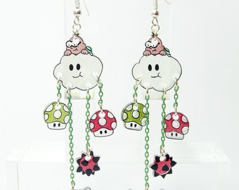 Mario Earrings: Lakitu, Goomba, and mushroom