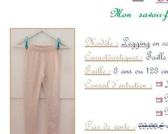 Beige cotton leggings - size 8 years / 128 cm