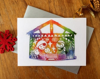Christmas card, nativity - with envelope