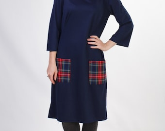 Midi navy blue dress with pockets Autumn office dress Autumn dress midi Navy blue dress office