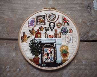 Seventies decor embroidered hoop art