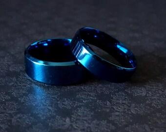 Flat Blue Band Ring (Sizes 7 - 12)