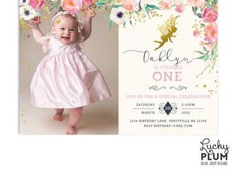Fairy Birthday Invitation / Woodland Birthday Invitation / Flower Birthday Invitation / First Birthday Invitation / Pixie Floral FY01