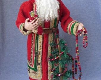 Handmade Santa - Old World Father Christmas- OOAK Sculpted Santa Claus by Nonna's Santas- Christmas Decorations-Holiday Joy