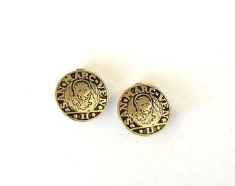 Whiting & Davis coin earrings . vintage clip on earrings