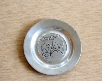 vintage pewter tray . Pew Ta Rex dish . Monday's Child is fair of face . silver change dish, ring dish, made in Colonial York PA