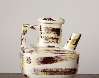 vintage mid century teapot . brown & yellow brushstroke pattern tea pot . mid mod tea pot . square teapot . California Pottery
