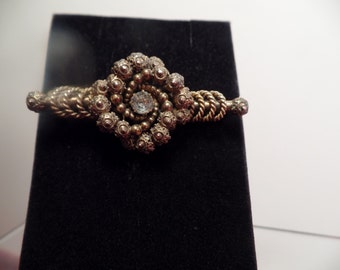 REDUCED  Ornate Edwardian Brass Bar Pin with Clear Stone