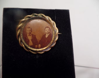 Victorian Portrait Brooch of Two Boys