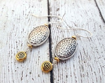 Textured Gold & Silver Earrings, Golden Swirl, Dangle Earrings, Metal Earrings, Silver Plated, Textured Jewelry, Gifts for Her