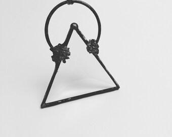 Geometric Glass Pendant | Triangle Chain | Boho Jewelry | Stained Glass Pendant