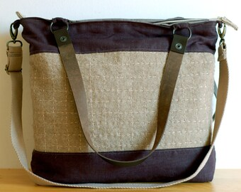 OOAK hand embroidered charcoal linen wool bag with leather straps