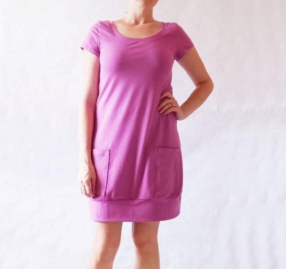 SALE Fuchsia Size SMALL Tunic Dress Short sleeve Womens Mini Dress deep Pockets Cotton Jersey knee length scoop neck tee - Ready to Ship