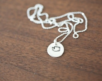 Tiny Washington Necklace Silver Washington Necklace State Charm State Necklace WA Small State Charm Washington Charm Washington Necklace