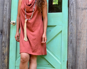 Drape Neck T-Back Dress (Short). Sustainable organic hemp custom made clothing by Grateful Threads Asheville. Handmade. Conscious.