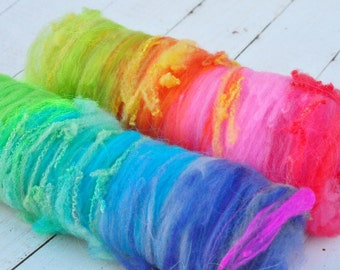 Textured, Chunky Carded Art Batts - Rainbow - 2.9 ounces - For Spinning or Felting