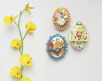 3 Floral Egg Fridge Magnets - recycled jewelry rhinestone Spring Easter decor - refrigerator magnet set