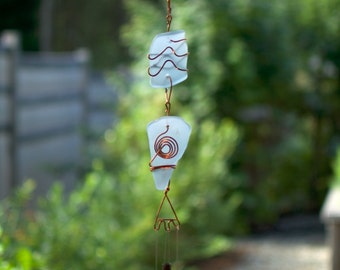 Wind Chimes Pastel Sea Glass and Copper with Brass Chimes windchimes beach glass stained glass