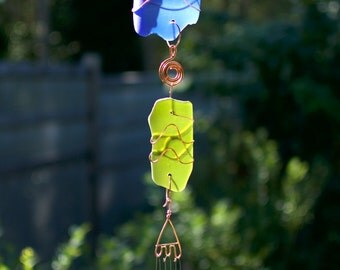 Wind Chime Beach Glass Copper Wire Wrapped with Brass Chimes