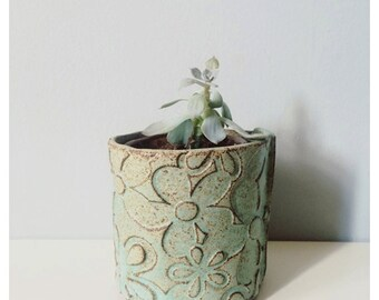 Planter - succulent planter - ceramic planter - teal pottery - handmade rustic modern ceramics and pottery