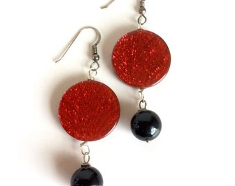 Handmade Red and Black Earrings on Sterling Silver Ear Wires - Sparkly Shimmery Metallic Red Discs and Glossy Black Glass Beads Dangles