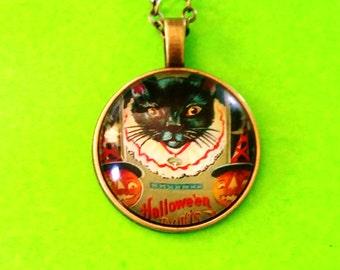 Black Cat Vintage Halloween Card Glass Pendant Necklace