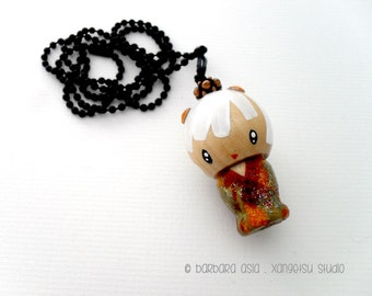 Japanese kokeshi-inspired lucky doll ornament necklace - chi-chan