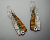 long Iridescent polymer dangle earrings faux wood sterling silver black white pattern sterling ear wires bulls eyes