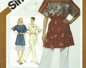 Simplicity 5143 Misses Tunic, Pants, Skirt 80s Vintage Sewing Pattern Size 10 Loose Fitting, Kimono Sleeves