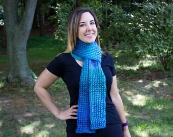 Blue Hand Knit Women's Scarf - Ocean Blue Vegan Scarf - Boho Scarf - Hipster Scarf - Acrylic Scarf - Blue Long Chunky Scarf - Rib Stitch