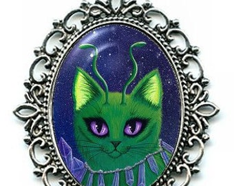 Alien Cat Necklace Space Cat Art Purple Crystals Cameo Pendant 40x30mm Gift for Cat Lovers Jewelry