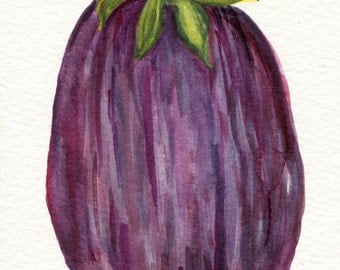 Eggplant Watercolors Painting Original Vegetable 5 X 7 Food Art Eggplant Painting