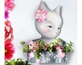 Cat Illustration on Wood with shelf and keepsake holder jewellery store planter pot cats art valentines day gift