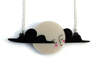 Moon Necklace -  pearl acrylic laser cut necklace platinum pearl pearlised and black clouds moon lady hand painted