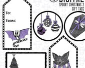 Spooky Christmas 2 Goth Gift Tag Stickers -Instant Digital Download graphics for your personal use - printable sheets and separate images