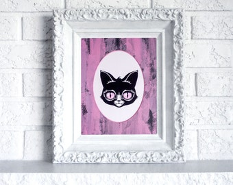 Cat Print in Hand Painted Mat - Ready to frame art print in black and pink oval mat
