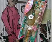 Shell Brooch, Vintage Textiles, Beaded, Pin, Boho, Self Love, Self Praise, Shell, Silk