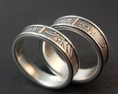 Wedding Band Set - Sterling Silver and 14k Yellow Gold Sunflower Wedding Rings - Handmade in Seattle