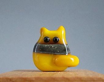 Handmade Lampwork Cat Bead - Harper Itty Bitty FatCat